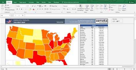 excel us map template image gallery heat map excel template