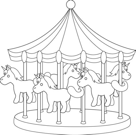 Carnival Carousel Line Art Free Clip Art Carousel Coloring Pages