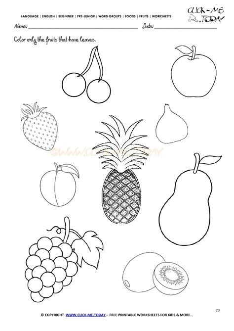 worksheets for preschool fruits fruits worksheet 20 color only the fruits that have leaves