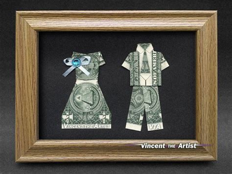 Money Origami Wedding Dress - groom money origami beautiful dollar bill gift
