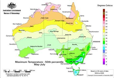 australian in july the pattern of seasonal temperature odds across australia