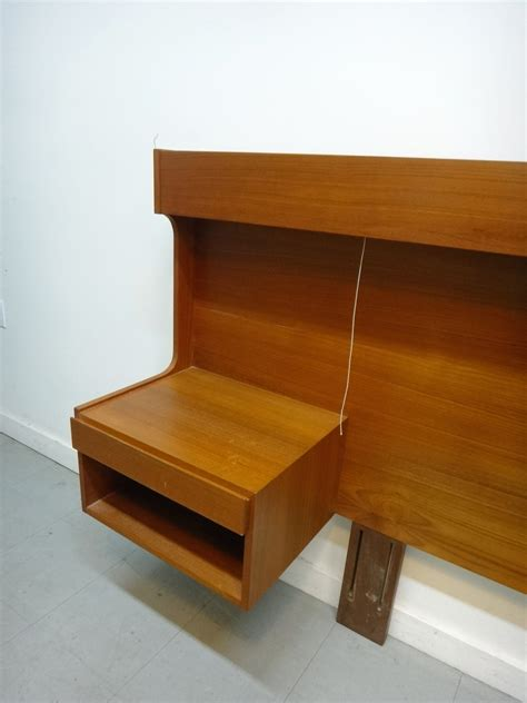 Double Bed With Bookcase Headboard Danish Modern Teak King Headboard With Floating