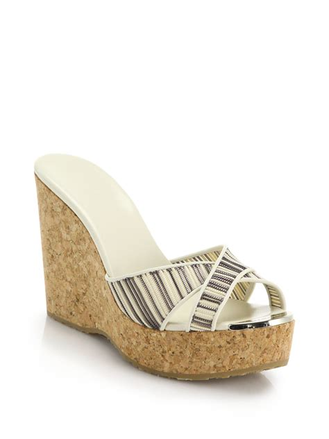 Harding Stripe Cork Wedge by Lyst Jimmy Choo Perfume Striped Cork Wedge Mule Sandals