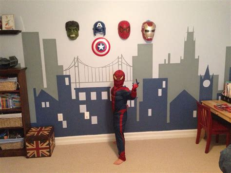 bedroom marvel kids bedroom extraordinary super hero wall i like the idea of hanging the masks on the wall