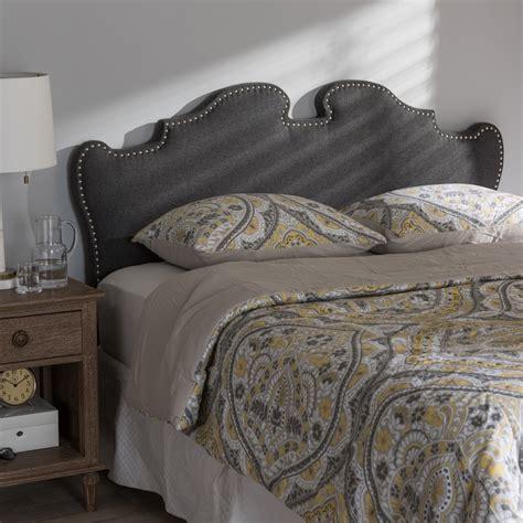 fabric full size headboard baxton studio dalton modern and contemporary dark grey