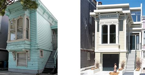 house facade renovation before and after a modern house in a historical building