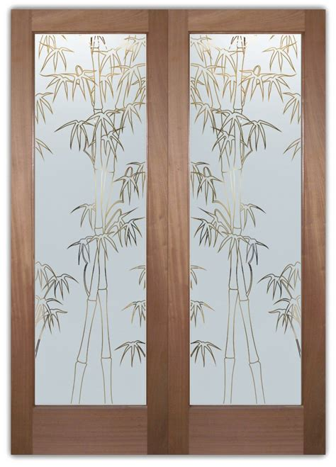 Bamboo Shoots Front Doors With Glass Etching Asian Decor Bamboo Glass Door