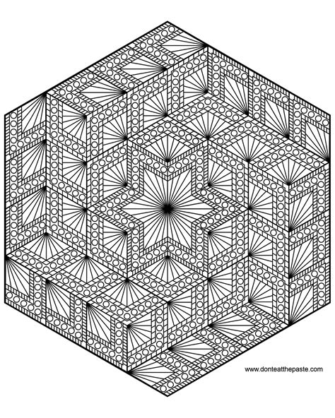 cool advanced coloring pages don t eat the paste diamond hexagon mandala to color