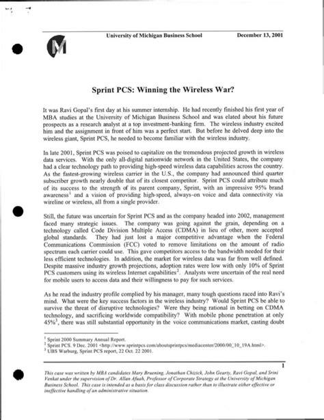 Mba Study Of Michigan by Sprint Pcs Strategy Study
