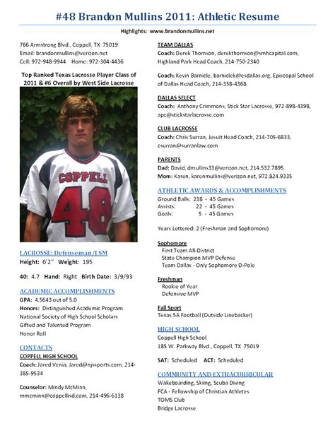 Sle Resume Profile by Sle Resume Student Athlete Writing A College