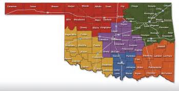 oklahoma map showing cities visitor attractions in oklahoma by county