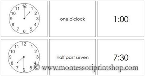 montessori clock printable time cards printable montessori math materials