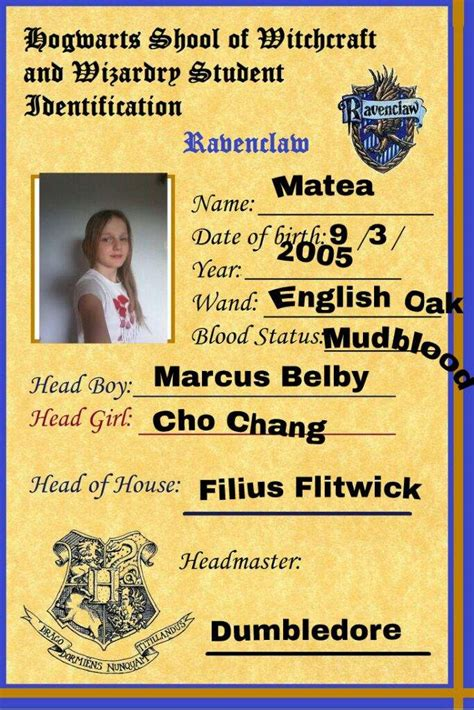 Sorting Hat Place Cards Template by My Hogwarts Student Id Card And Some Pics Harry Potter Amino