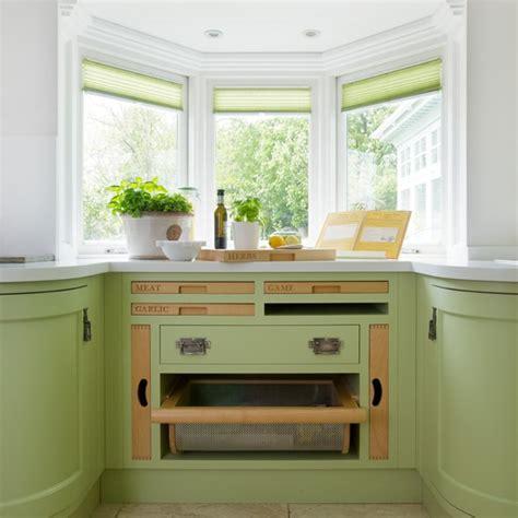 bay window kitchen ideas bespoke green kitchen with bay window housetohome co uk