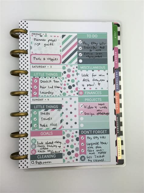 The Make Room Planner using erin condren size planner stickers in the mini happy