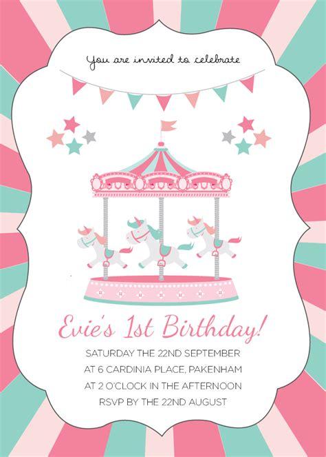 carousel birthday invitations bagvania free printable