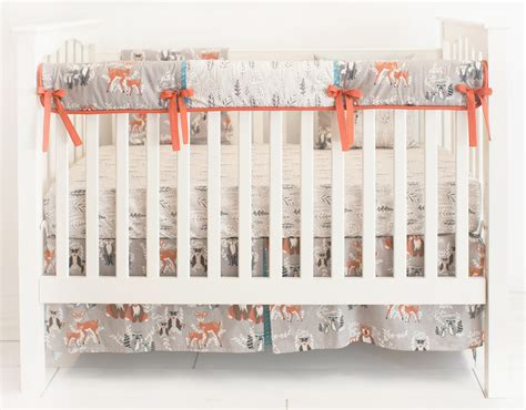 Hello Crib Bumper by Woodland Nursery Bedding Woodlands Crib Bedding Navy Deer