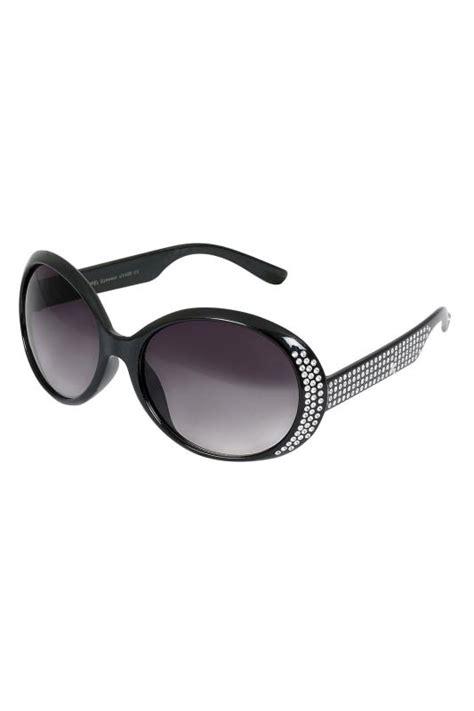 Sunglasses C740 Black black oval diamante embellished sunglasses with uv 400