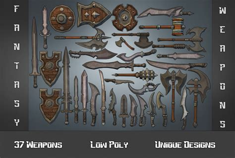 2d Modeling Online 37 low poly fantasy weapons unity asset store unity