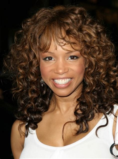spiral hairstyles with bangs elise neal wearing her long hair with a spiral perm for curls