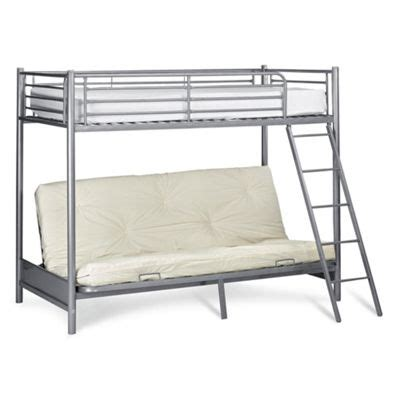 Metal Frame Loft Beds Buy Metal Futon Bunk Silver Effect From Our Metal Bed Frames Range Tesco