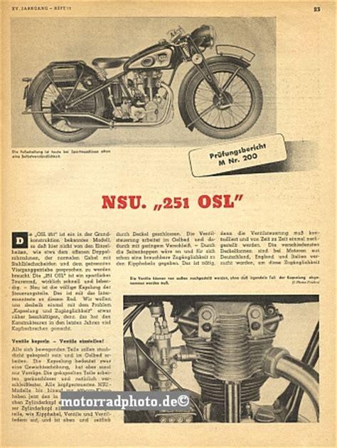 Nsu Motorrad Typen by Motormobilia Nsu Motorrad Testbericht Typ 251 Osl 1938