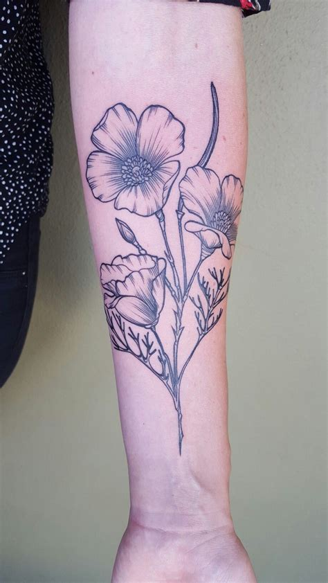 poppycock tattoo california poppy by fabel wildflower tattoos
