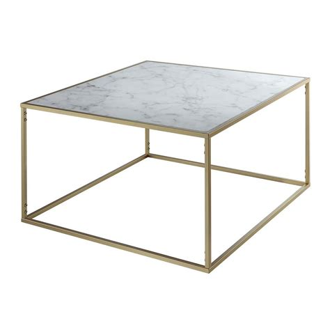 Convenience Concepts Gold Coast Faux Marble And Gold Marble And Gold Coffee Table
