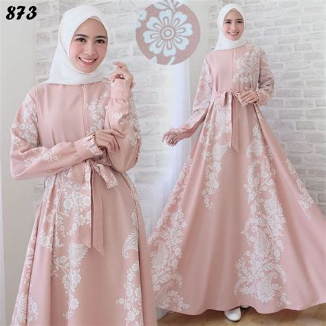 Ktg819 Real Pic Syari Dusty maxi dress motif etnik c873