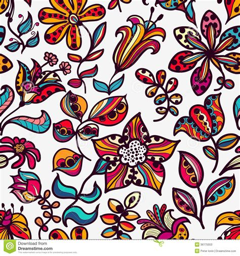 any design of flowers floral seamless pattern of flowers and leaves on stock