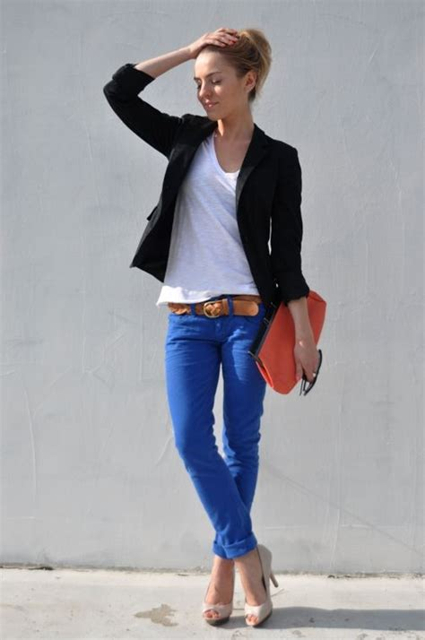 what colour goes with black and white casual blue blue blue fashions i like pinterest