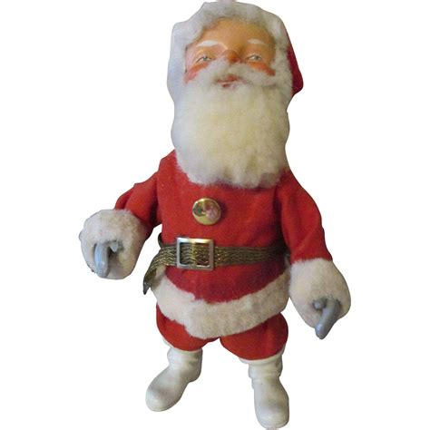 vintage wind up nodding santa claus doll from