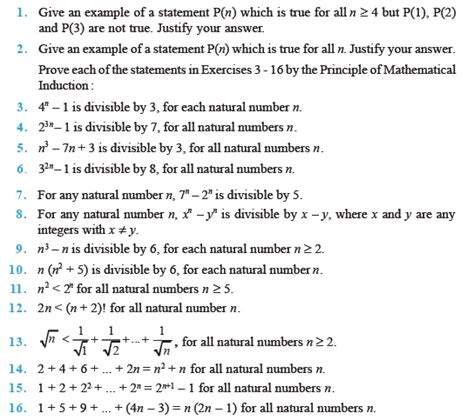 principle of mathematical induction for class 11 class 11 important questions for maths principle of mathematical induction aglasem schools