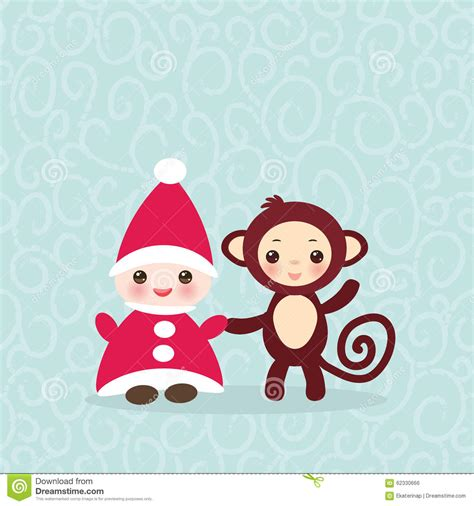 Happy Monkey Blue 2016 happy new year card gnome in hat stock