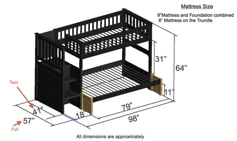 Dimensions Of A Bunk Bed Discovery World Furniture Espresso Staircase Bunk Beds Kfs Stores