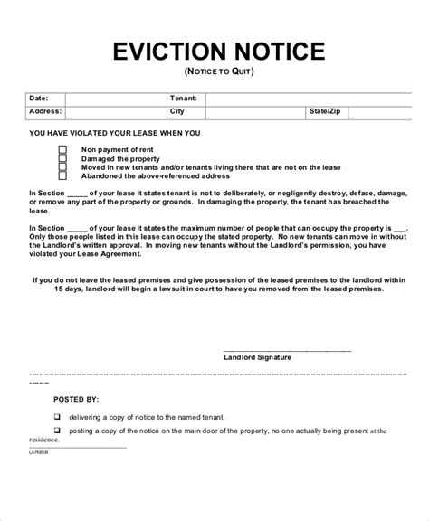 10 Printable Eviction Notice Forms Pdf Google Docs Ms Word Apple Pages Free Premium Landlord Eviction Letter Template
