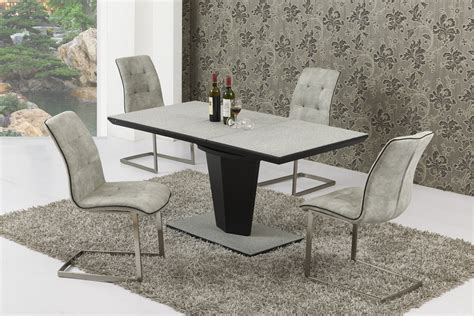 Small Extending Grey Stone Effect Glass Dining Table And 4 Small Dining Table And Chairs Uk