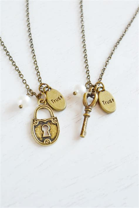 friendship key and lock necklaces best friend necklace bff