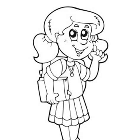 Student Coloring Girl Is Very Happy For The First Day Of School Page Grig3 Org Student Coloring Pages