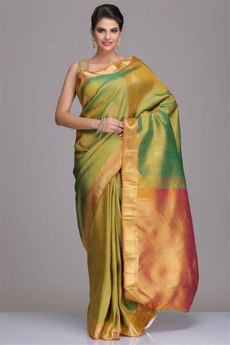 bid or buy shopping buy real zari kanjeevaram silk sarees lime green