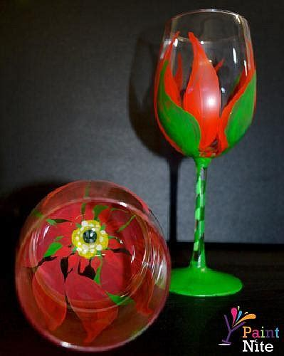 paint nite wine glasses paint nite poinsettia drinkware wine glasses