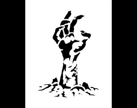 Zombie Hand Halloween Art Stencil Select Size By Studior12 Stencil Art Pinterest Stencil Templates For Painting