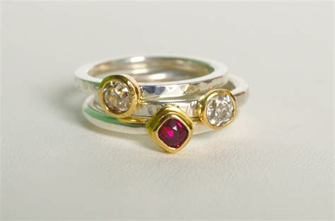 ruby and stack rings in 18ct gold and silver