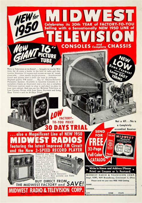 Cincinnati Ohio Records 1949 Ad Midwest Radio Television Cincinnati Ohio Record Player Advertisement Ebay
