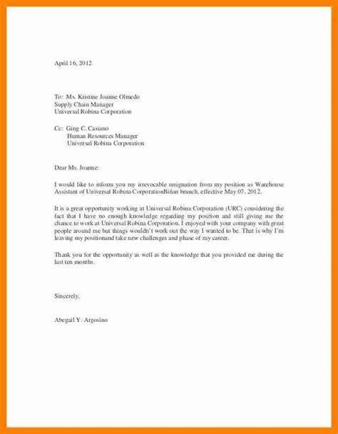 simple resignation letter restaurant resignation