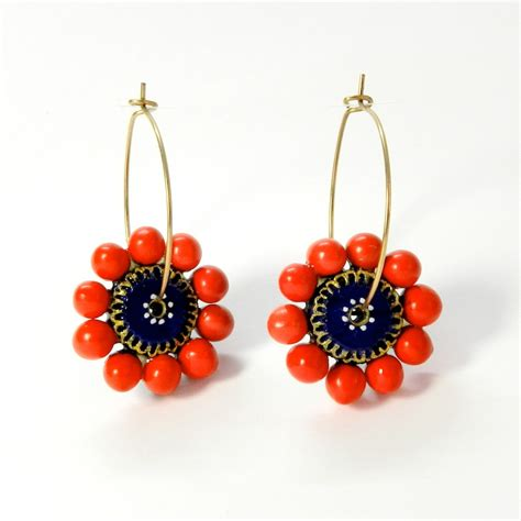 Handmade Studs - terracotta jewellery earrings handmade flower hoop kasni e