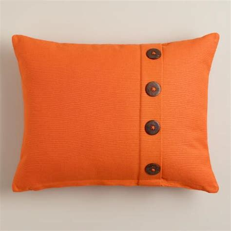 Pillows With Buttons by Orange Button Ribbed Lumbar Pillow World Market