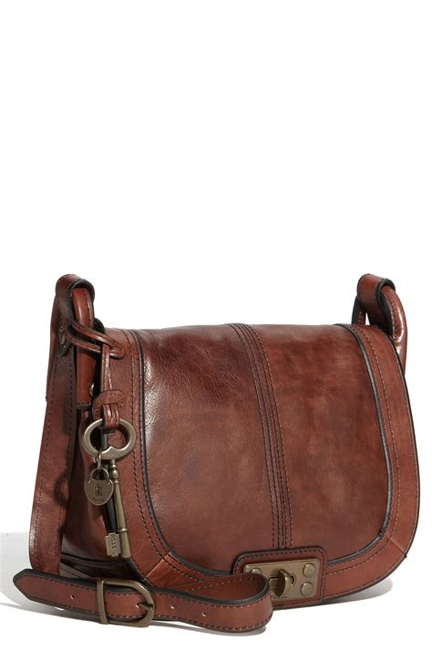 Fossill Leather fossil leather crossbody bag in brown lyst