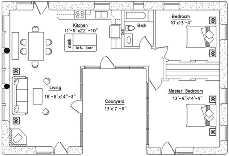 u shaped floor plans with courtyard u shaped house plan