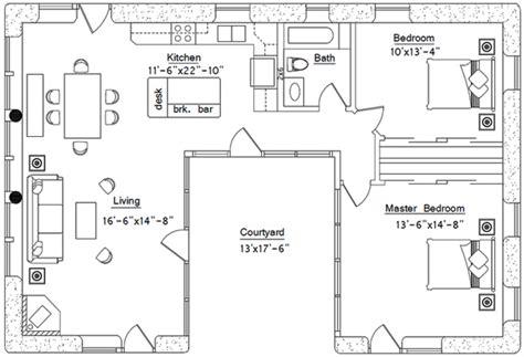 U Shaped House Plan